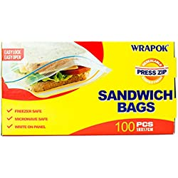 "WRAPOK Sandwich & Snack Bag 7""x6.7"" Food Storage Bags BPA Free 100 Count …"