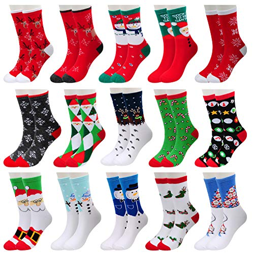 15 Pairs Womens Christmas Holiday Socks Cotton Knit Crew Xmas Socks for Girls Novelty Christmas Gifts