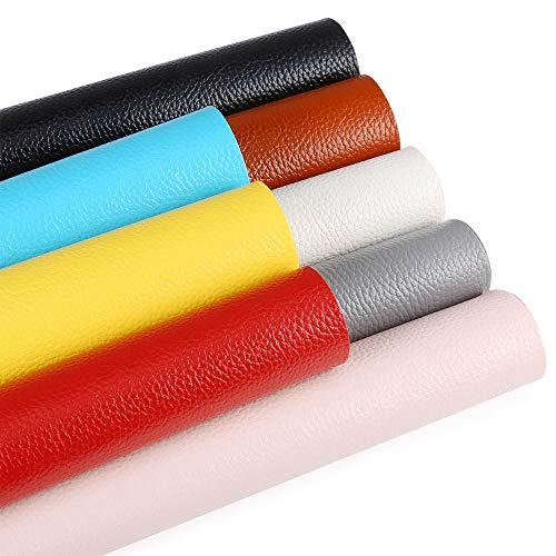Caydo 8 Pieces 8 Solid Colors PU Leather Fabric Litchi Faux Leather Fabric Sheets Thick Canvas Back for Hair Bows Making Protection of Book Cover Wallet Handbags DIY Craft, 8.8 x 12.8 Inch