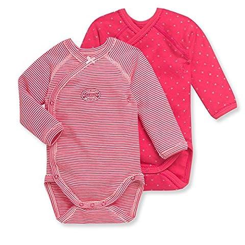 Petit Bateau Baby Girls' Fuchsia Pink 2 Pack Kimono Bodysuits, 1M (21 inches) - Petit Bateau Kimono Onesie