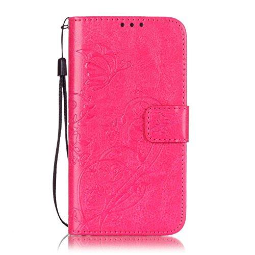 JIALUN-Personality teléfono shell Caja de las flores de Samsung S7 que graba en relieve, cubierta de la caja de cuero de la PU con la función de la cuerda y de la cartera de la ejecución para Samsung  Rose