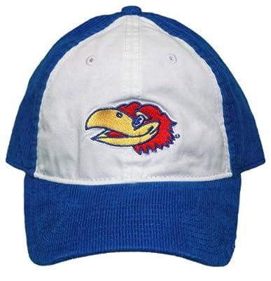 New! University of Kansas Jayhawks Adjustable Back Corduroy Cap - Blue/White from NCAA Signatures
