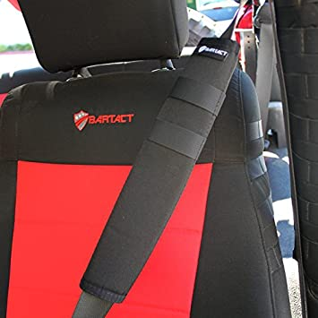 Pair of 2 Bartact Seat Belt Covers Red