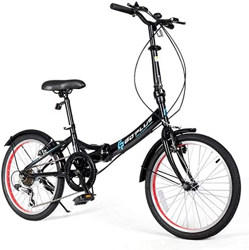 Goplus 20 Folding Bike, 7 Speed Shimano Gears, Lightweight Iron Frame, Foldable Compact Bicycle with Anti-Skid and Wear-Resistant Tire for Adults