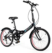 Goplus 20'' Folding Bike, 7 Speed Shimano Gears, Lightweight Iron Frame, Foldable Compact Bicycle with