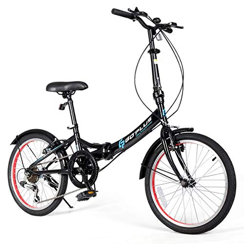Goplus 20'' Folding Bike, 7 Speed Shimano Gears, Lightweight Iron Frame, Foldable Compact Bicycle with Anti-Skid and Wear-Resistant Tire for Adults (U-Shape Crossbar) (Best Folding Bike Under 1000)