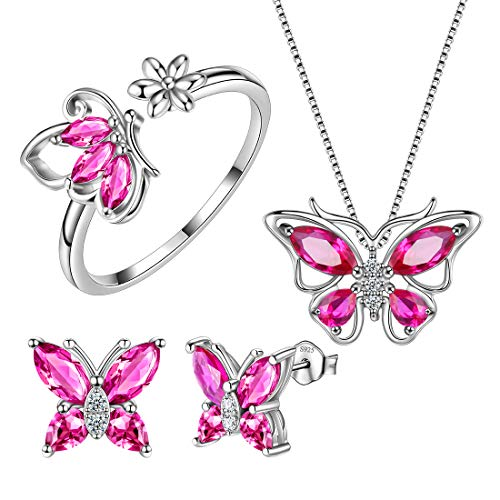 Aurora Tears Red Butterfly Jewelry Sets Women 925 Sterling Silver Butterflies Necklace/Earrings/Rings Set July Birthstone Wedding Gift DS0039R (Set 925 Jewelry Silver)