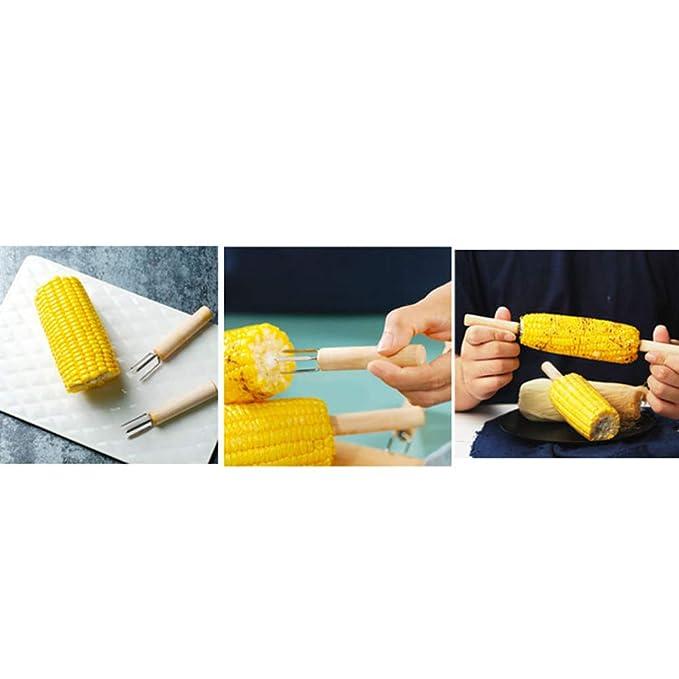 BESTONZON Horquilla para maíz, Brochetas de espiga de maíz, Porta de ...