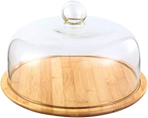 VOSAREA 1 Set Glass Round Cake Dome Cover Food Plate Lid Clear Cover Tent Table Umbrella with Bamboo Tray for Home Baking Cake Dessert Display Platter Cover