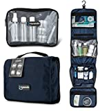 TRAVANDO Hanging Toiletry Bag ''FLEXI'' + 7 Containers for Liquids | Travel Set for Men and Women | Toiletry Kit for Cosmetics, Makeup | Toilet Organiser Suitcase Roll Wash Bag