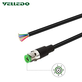 VELLEDQ Industrial Field Assembly M12 Connector 8-Pin Male A Coding Elbow Sensor Cable Plug Adapter