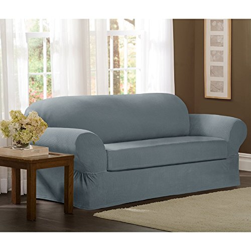 Maytex Collin Stretch 2-Piece Slipcover Sofa, Blue (Couch Slipcovers With Separate Cushion Covers)