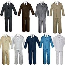 5pc Baby Toddler Boy Formal Suit Black Brown Gray Khaki Green White Taupe Sm-20