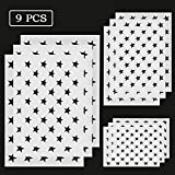 YANSHON 50 Stars American Flag Stencils, Reusable Stencil of American Flag for Painting on Wood, Fabric, Airbrush, Paper, Glass, and Wall Art (3L, 3M, 3S)