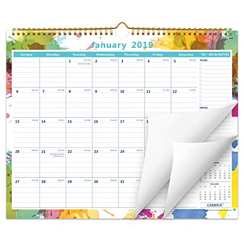 Cabbrix 2019 Monthly Wall Calendar, 15 x 12, Wirebound, Flexible Monthly Daily Designer for Office & Home