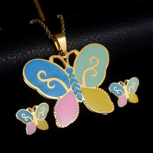 ocijf179 Children's Cartoon Necklace Earring Jewelry, Kids Girl Colorful Enamel Butterfly Necklace Ear Studs Jewelry Set Birthday Gift - Multicolor Multicolor