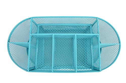 YaeKoo Desk Organizer | Caddy, Features Elegant Blue Mesh Wire Design, 9 Space Saving Writing Supplies Compartments With a Large Drawer - Perfect For Gifts,, Students, and Office Stationary (Instructors Teachers Desk)