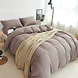 PURE ERA Ultra Soft Solid Cotton Jersey Knit Home Bedding Collection 3 Pieces Duvet Cover Set,1 Comforter Cover and 2 Pillow Shams Rosy Brown Queen Size