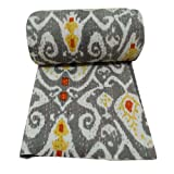 Cotton Gray Paisley Reversible Bedspread Print Quilt Reversible Gudri Queen Size Throw Bedspread