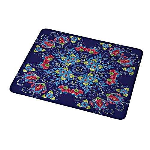 Personalized Custom Gaming Mouse Pad Batik,Bohemian Malaysian Floral Bouquet Corsage Ornamental Royal Asian Artistic Image,Purple Blue,Personalized Design Non-Slip Rubber Mouse pad 9.8