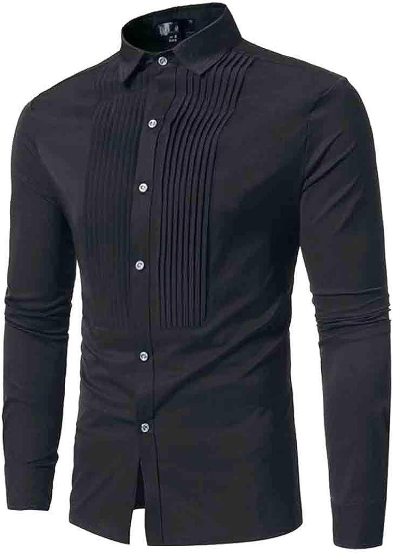 Pcutrone Men Long Sleeve Fashion Turn Down Button Up Shirts