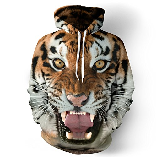 Samefar Unisex Realistic 3d Digital Print Pullover Hoodie Hooded Sweatshirt Small/Medium Grey Tiger for $<!--$22.99-->