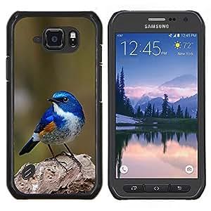 TECHCASE---Cubierta de la caja de protección para la piel dura ** Samsung Galaxy S6 Active G890A ** --azul pájaro cantor azul de primavera verde de la naturaleza