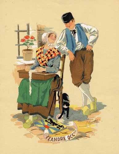 Antique Print-WEST FLANDERS-COSTUME-BELGIUM-Naudy-Renaudin-1920 -