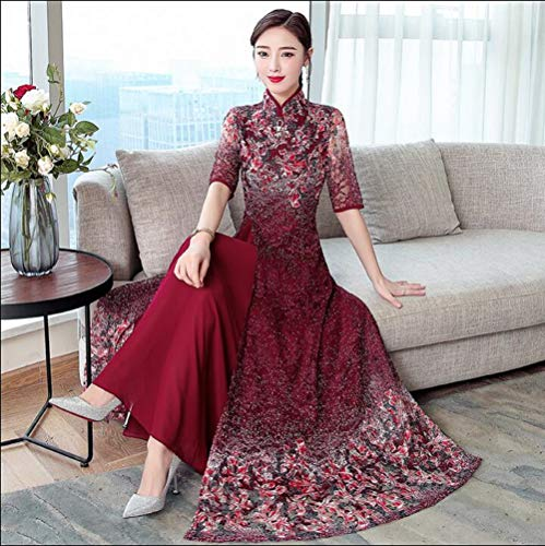 - Ao Dai Pattern - 2019 Summer Retro Vietnamese Tradition Long Dress Floral Pattern Ao Dai Lace Dress Red Size M L XL 2XL 3XL 4XL