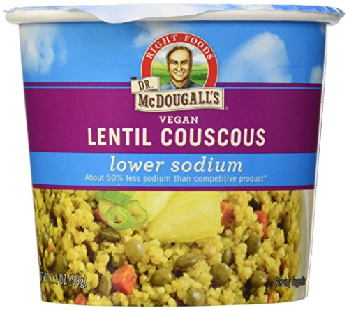 Vegetable Couscous (Dr. McDougall's Right Foods Vegan Lentil Couscous Soup, Lower Sodium, 2.1-Ounce Cups (Pack of 6))
