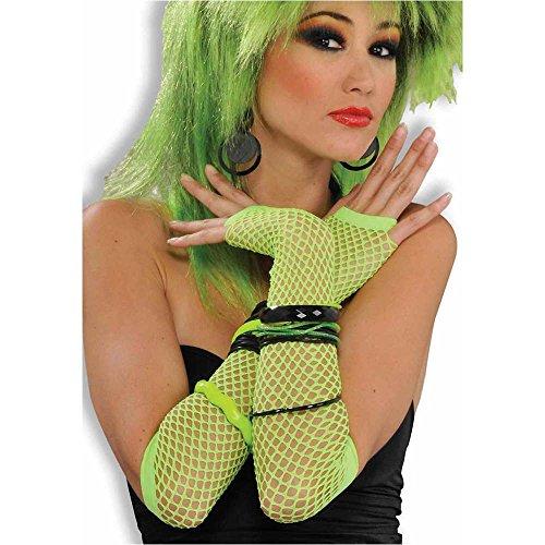 Neon Green Fishnet Fingerless Gloves
