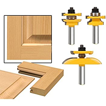 Accoed 3pcs Bit Raised Panel Cabinet Door Router Bit Set With Bevel