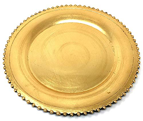 """#1 Beautiful Luxurious Elegant Round Shiny Dinnerware 13"""" Charger Plates Wedding Christmas Anniversary Formal Charger Service Dining Entertaining Home Party Decor Holiday (8, Gold Beaded)"""