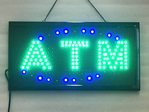 Atm Sign Led - UPSUN Neon Sign OPEN,LED business open sign advertisement board Electric Display Sign, Two Modes Flashing & Steady light, for business, walls, window, shop, bar, hotel(ATM)