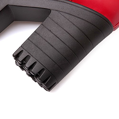 Allhqfashion Mujer Microfibra Hebilla Tacón Alto Puntera Redonda ZapatosdeTacón Rojo
