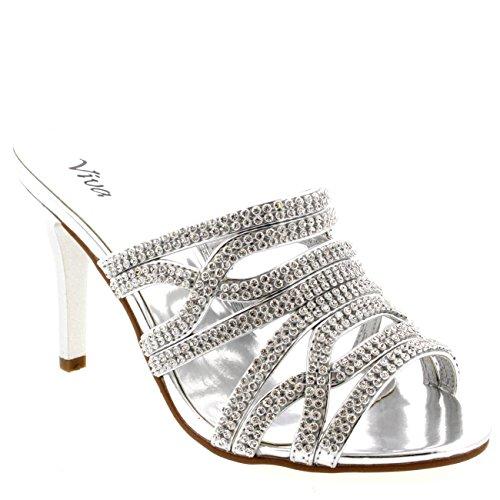 Womens Mules Mid Heels Prom Bridesmaid Pumps Wedding Stilettos Evening - Silver - 8 - 39 - CD0160C (Mid Heel Womens Mules)