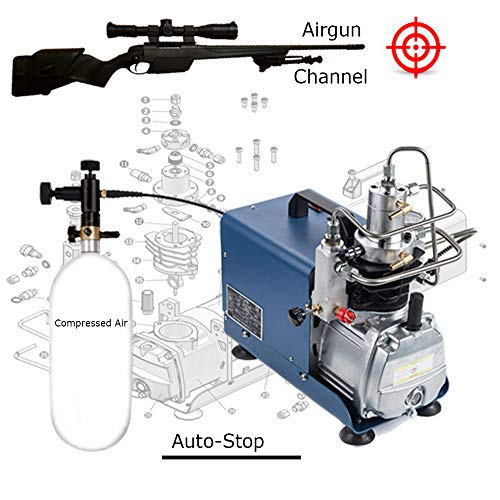 (110V 300BAR 30MPA 4500PSI High Pressure Air Pump Electric Air Compressor for Pneumatic Airgun Scuba Rifle PCP Inflator Auto-Stop)