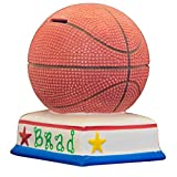 Basketball Boys Piggy Bank - (Personalized & Custom With Name And Year) (First Financial Toy For Teaching Boys & Girls About Saving Money) (Perfect Unique Gift Idea For Babys 1st Birthday)