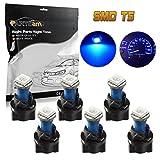Partsam 6Pack Twist Socket Blue T5 73 74 led 5050 SMD Instrument Cluster Dash Light