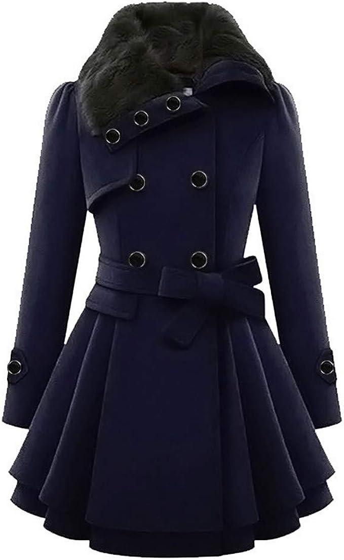 Manteau cintré double rangée boutons gris anthracite femme