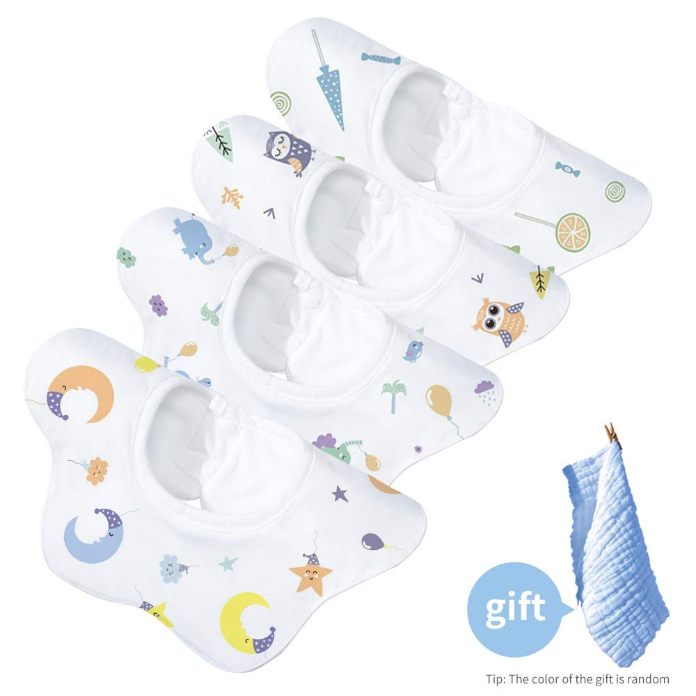 Gudodle Absorbent Baby Bibs-360 Rotate Bandana Bibs for Drooling and Teething,4 Pack