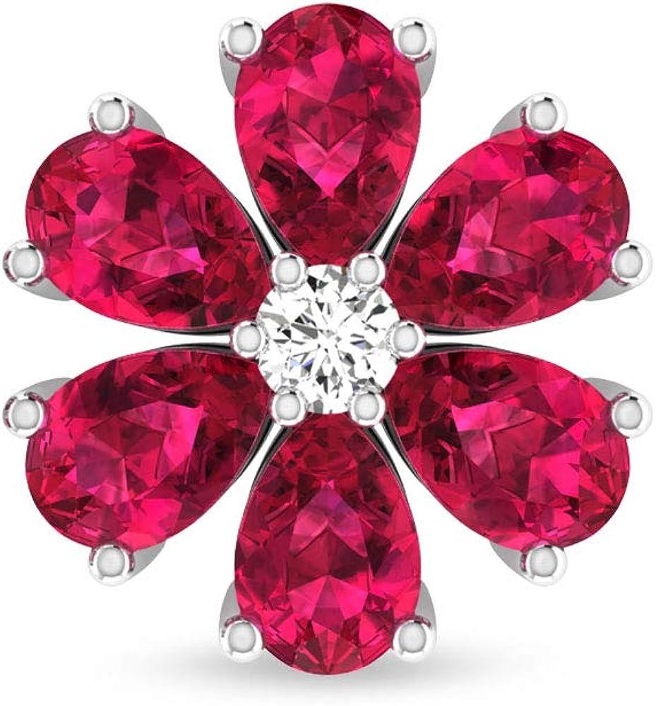 Pendientes de cristal de rubí con forma de pera de 2,94 quilates, certificado por IDCL Moissanite nupcial, regalo único de aniversario de cumpleaños, tornillo hacia atrás