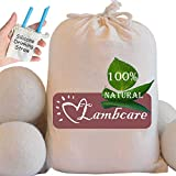 Wool Dryer Balls 6 Pack XL, Natural Clothes Laundry Dryer Balls Reusable Handmade Fabric Softener by LambCare