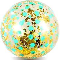 meekoo Inflatable Beach Ball Plastic Glittery Beach Ball Inflatable Confetti Ball for Summer Beach, Pool Decoration, 32 Inches