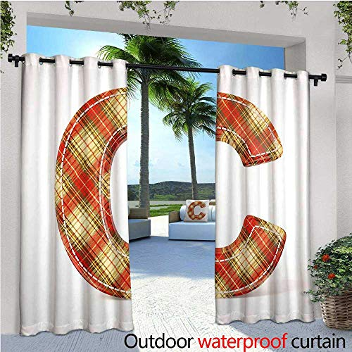 Pa Vintage Linen - Letter C Outdoor- Free Standing Outdoor Privacy Curtain Vintage Typeface Design with Classical Pattern Sewing Craft Theme for Front Porch Covered Patio Gazebo Dock Beach Home W72
