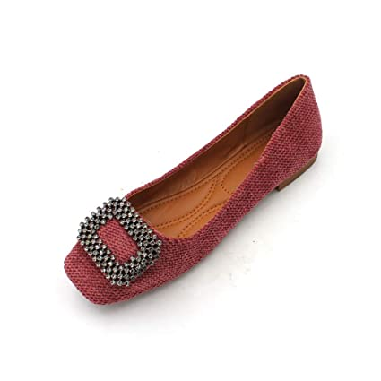f22f9c2508d32 Amazon.com: August Jim Red Flats Shoes Women Metallic Rhinestones ...