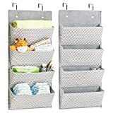 mDesign Soft Fabric Over The Door Hanging Chevron Storage Organizer 4 Large Pockets Child/Baby Room, Nursery, Playroom – Hooks Included - Pack of 2, Zig Zag Geometric Pattern in Gray/Cream