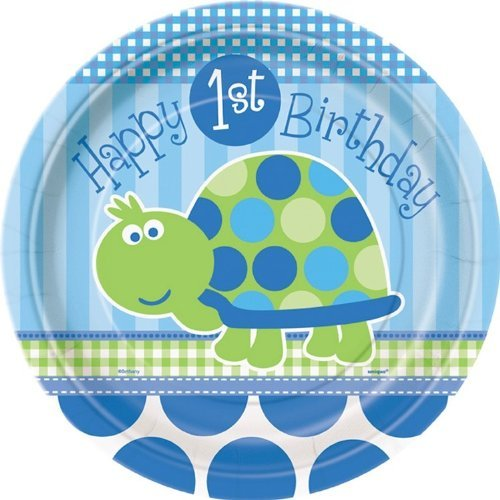 1st Birthday Turtle party plates pack of 8