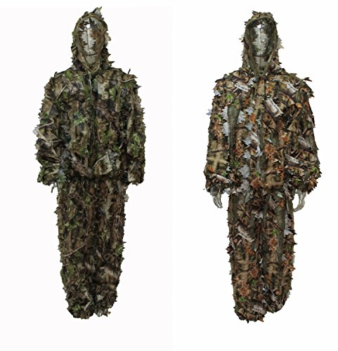 Woodland Camo Pattern (Reversible Hunting Leafy Ghillie Suit Natural Blind / Woodland Camo Pattern (Large))