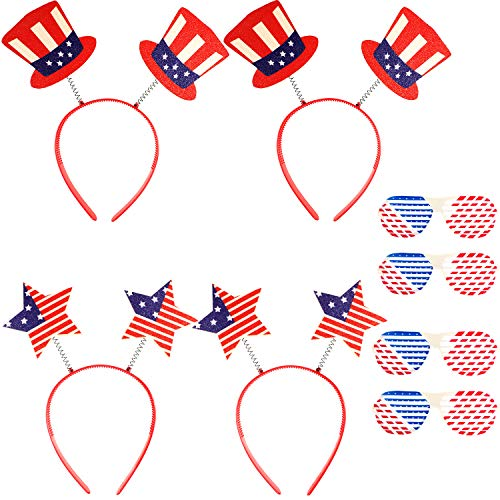 meekoo 8 Pieces Patriotic Head Boppers Headband 4th of July American Flag Shutters Glasses for Independence Day Party Favors